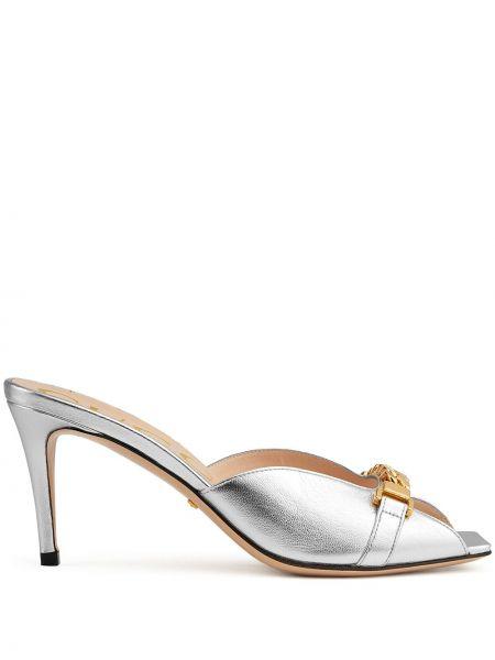 Sandały skorzane peep toe Gucci