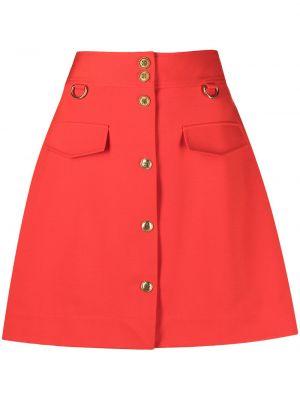 Złota spódnica mini zapinane na guziki Givenchy