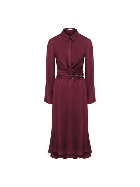 Красное шелковое платье с капюшоном с воротником Brunello Cucinelli