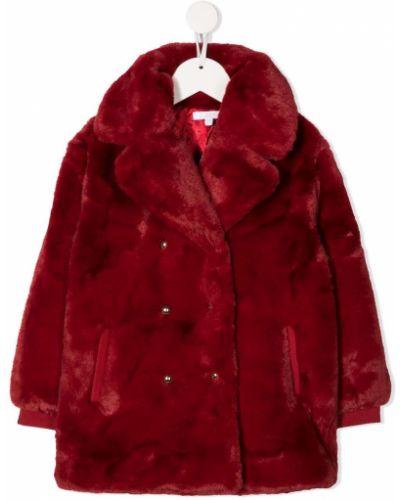 Prążkowany czerwony płaszcz z długimi rękawami Chloé Kids