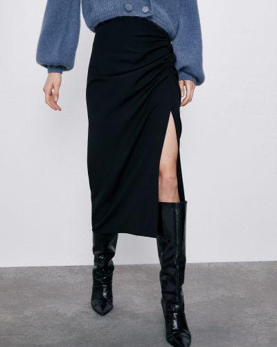 Черная юбка миди Zara