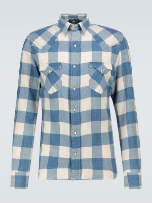 Ватная синяя льняная рубашка на кнопках Rrl