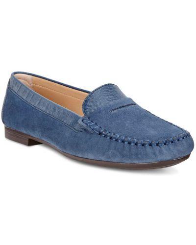 Мокасины синие замшевые Ecco