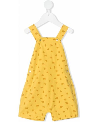 Хлопковый желтый комбинезон эластичный Knot