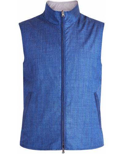 Синяя шерстяная жилетка двусторонняя Enrico Mandelli