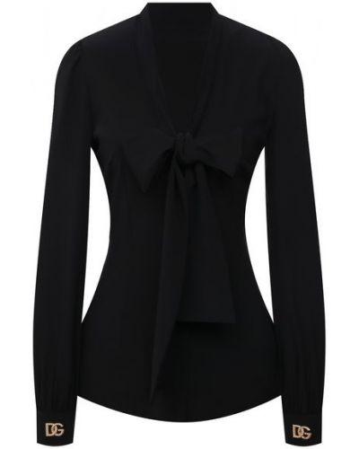 Черная шелковая блузка Dolce & Gabbana