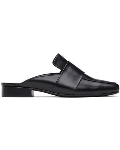 Кожаные черные тапочки на каблуке квадратные Dorateymur