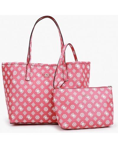 Розовая кожаная сумка шоппер Guess