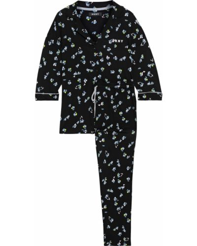 Czarna piżama z wiskozy z printem Dkny