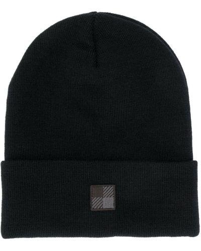 Акриловая черная шапка с нашивками эластичная Woolrich Kids