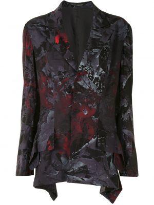 Czarny blezer z klapami z długimi rękawami z draperią Yohji Yamamoto