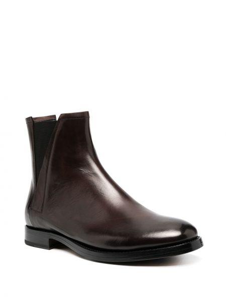 Кожаные черные ботинки на каблуке на каблуке эластичные Silvano Sassetti