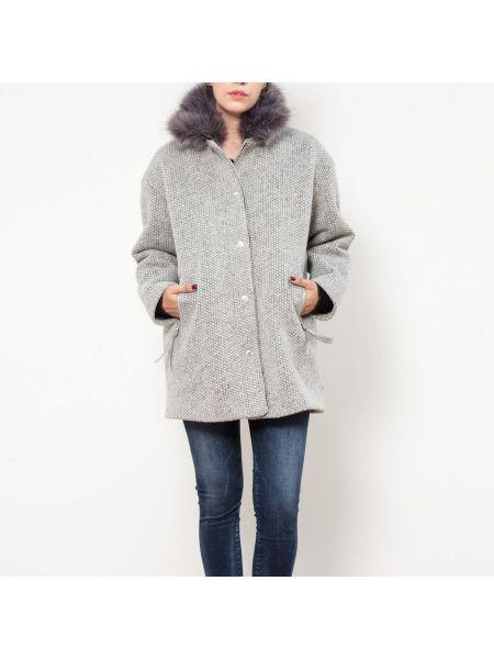 Шерстяное серое укороченное пальто с воротником на пуговицах Le Temps Des Cerises