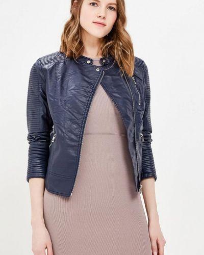 Кожаная куртка весенняя синий Fascinate