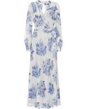 Klasyczna niebieska sukienka długa kopertowa Polo Ralph Lauren