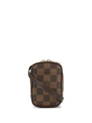 Коричневая маленькая сумка квадратная на молнии с карманами Louis Vuitton