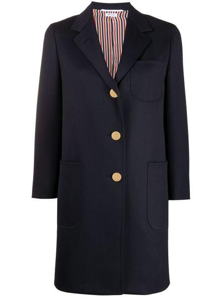 Свободное синее шерстяное пальто с накладными карманами Thom Browne