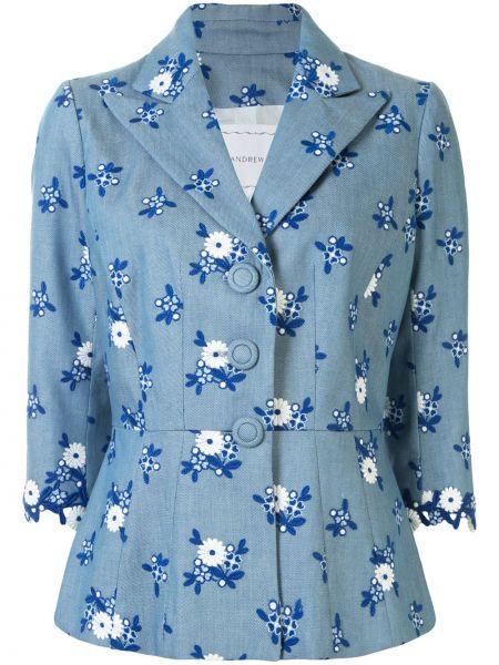 Прямая синяя куртка на пуговицах с вышивкой Andrew Gn