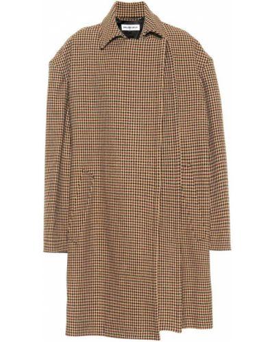 Beżowy wełniany płaszcz z draperią Balenciaga