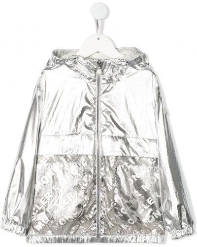 Серебряная длинная куртка с капюшоном с длинными рукавами Moncler Enfant
