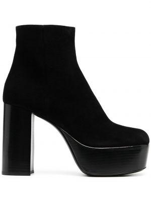 Skórzany czarny buty na platformie na pięcie plac Miu Miu