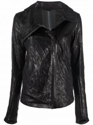Черная кожаная куртка с длинными рукавами с воротником Isaac Sellam Experience