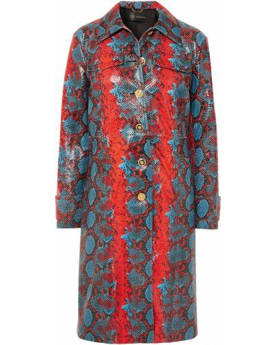 Кожаное пальто с подкладкой Versace