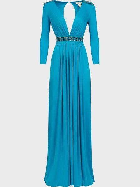 Платье из вискозы - бирюзовое Elisabetta Franchi
