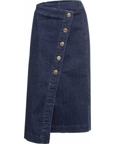 Синяя джинсовая юбка на пуговицах Bonprix