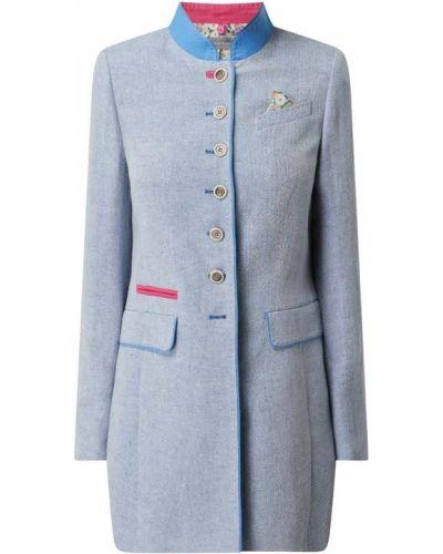 Niebieski płaszcz bawełniany zapinane na guziki White Label