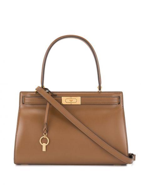 Кожаная золотистая коричневая кожаная сумка Tory Burch