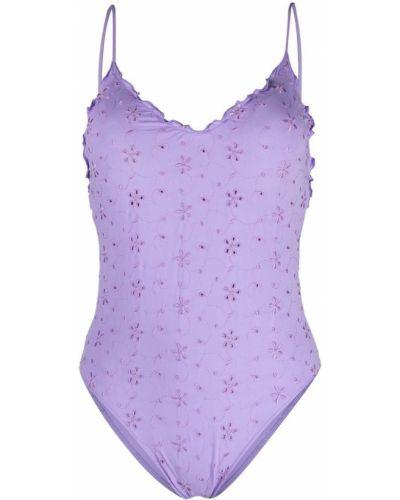 Фиолетовый купальник с вырезом с вышивкой Mc2 Saint Barth