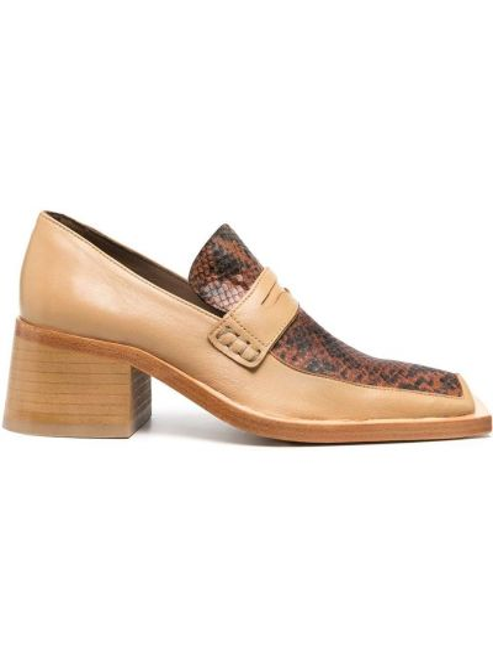 Skórzany brązowy loafers na pięcie kwadratowy Martine Rose