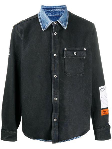 Czarna koszula jeansowa bawełniana z długimi rękawami Heron Preston