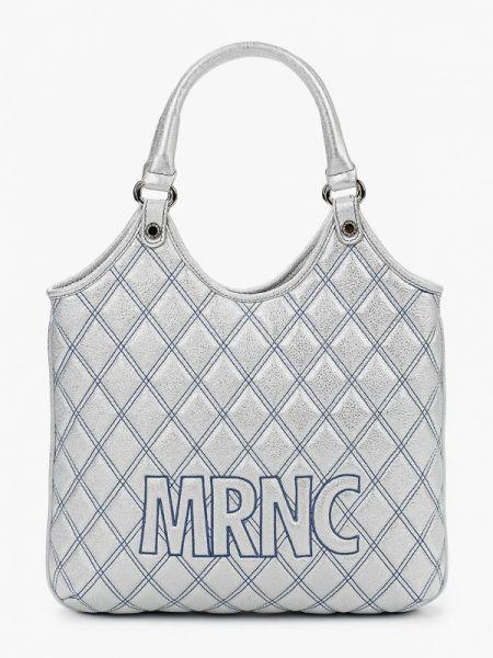 Серебряная кожаная сумка из натуральной кожи Marina Creazioni