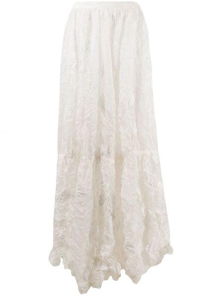 Асимметричная с завышенной талией белая юбка Nina Ricci