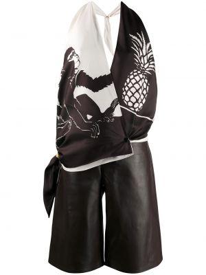 Коричневый кожаный комбинезон с шортами с открытой спиной на пуговицах Bottega Veneta