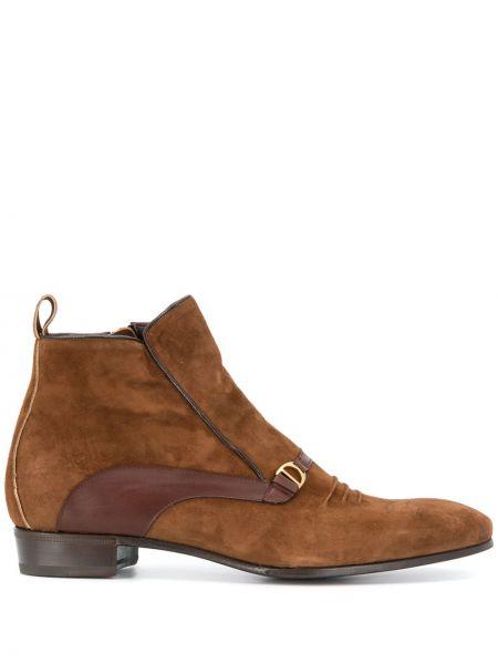 Кожаные коричневые кожаные ботинки круглые на плоской подошве Lidfort