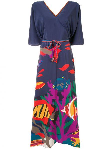 Синее шелковое расклешенное платье мини с V-образным вырезом Eres