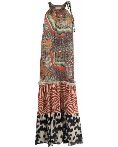 Коричневое платье с бахромой с вырезом Anjuna