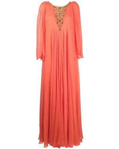 Оранжевое платье с круглым вырезом Jenny Packham