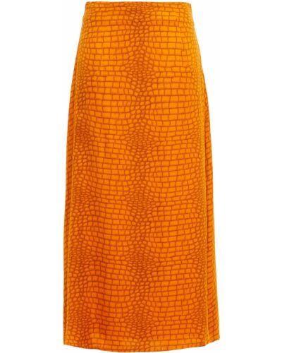 Сатиновая юбка миди - оранжевая Gestuz