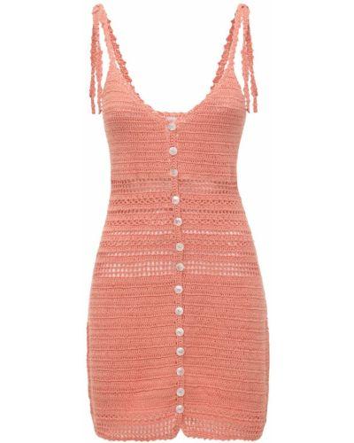 Оранжевое платье мини без рукавов с декольте She Made Me