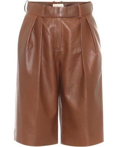 Коричневые кожаные шорты до середины колена Alexandre Vauthier