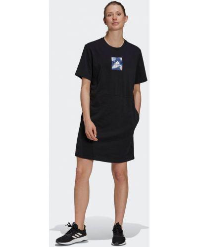 Платье с карманами - черное Adidas