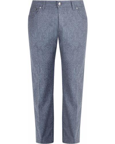 Прямые брюки с карманами серые Enrico Mandelli