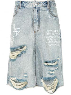 Классические джинсовые шорты на молнии с карманами свободного кроя Haculla