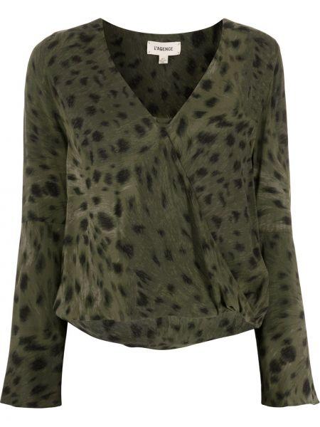 Зеленая блузка из вискозы с V-образным вырезом L'agence