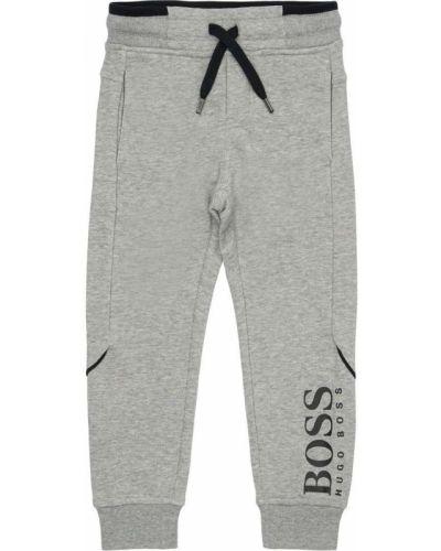 Prążkowane spodnie bawełniane z printem Hugo Boss