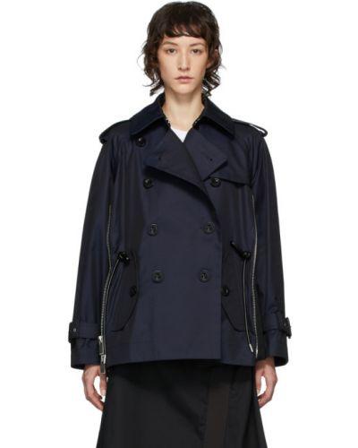 Длинное пальто без воротника на молнии Sacai
